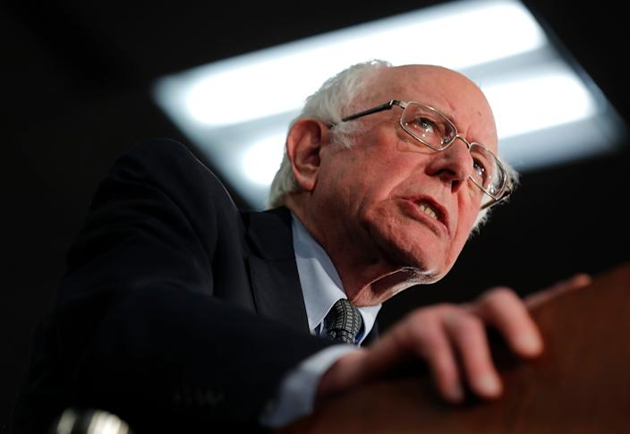 Democratic presidential candidate Sen. Bernie Sanders addresses a rally at the Drake University Olmsted Center in Des Moines, Iowa, on February 3.