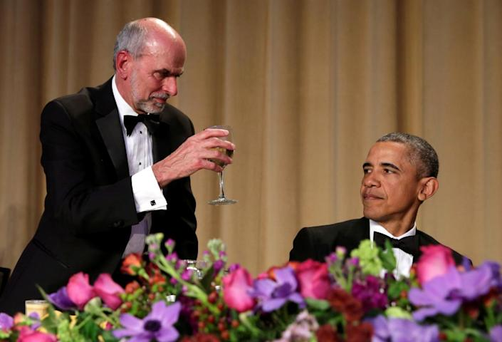 <p>Jerry Seib of the Wall Street Journal offers President Obama a toast at the White House Correspondents' Dinner, April 30. <i>(Photo: Yuri Gripas/Reuters)</i><br></p>