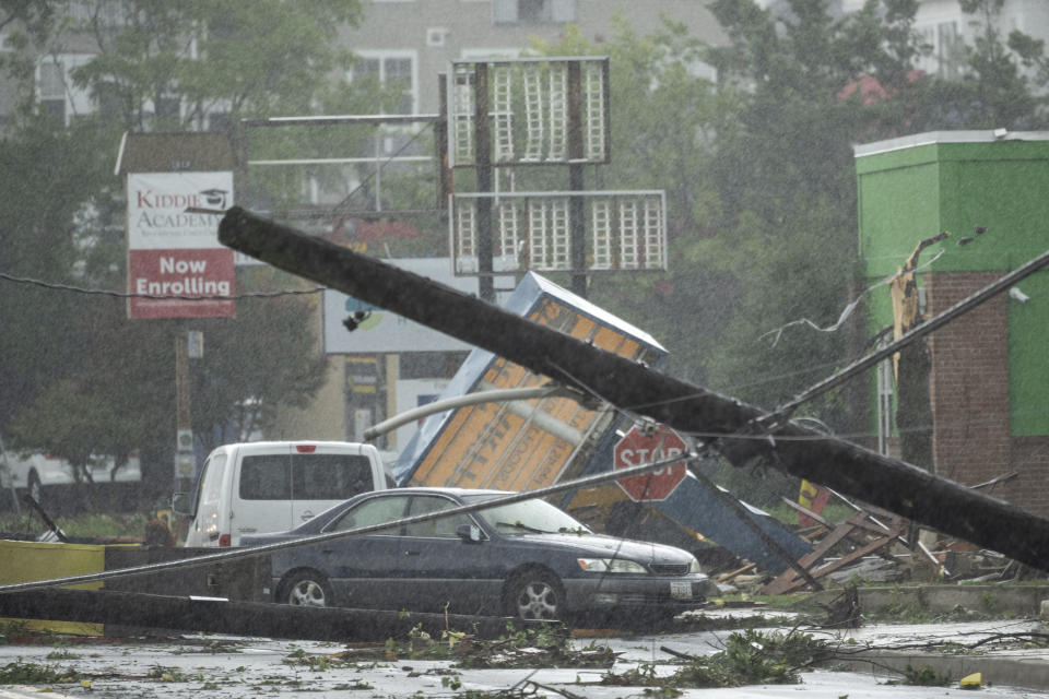 A downed telephone pole on West Street in Annapolis, Md., on Wednesday.