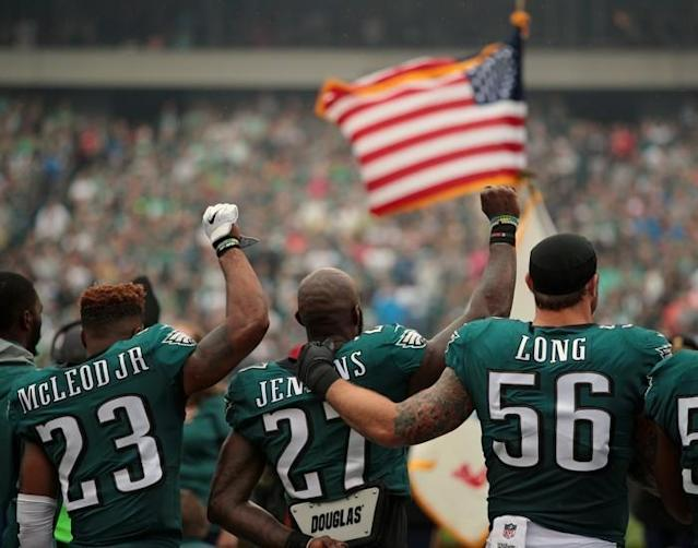 """When Malcolm Jenkins heard about Donald Trump's tweets condemning National Football League players for kneeling during the national anthem, he was unruffled. Jenkins is a man of convictions and bespoke suits. At 30, he is one of the top defensive players in the NFL. He has the versatility to play multiple positions, shows catlike quickness down the field, and is strong enough to knock ballcarriers off their routes. As a captain of the Philadelphia Eagles, he recently helped lead his team to a Super Bowl title. And as a co-founder of the Players Coalition—an organization that fights injustices disproportionately affecting African Americans—he can cite police-shooting statistics and discuss the finer points of Pennsylvania's proposed Clean Slate legislation, which would seal criminal records for people charged with minor offenses. So when the president wrote a series of tweets calling for protesting NFL players to be fired, Jenkins just shrugged. """"It was like any other troll,"""" he told me."""