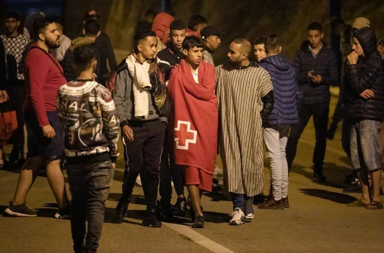 Would-be migrants gather in the Moroccan town of Fnideq waiting for their opportunity to slip across into the Spanish enclave