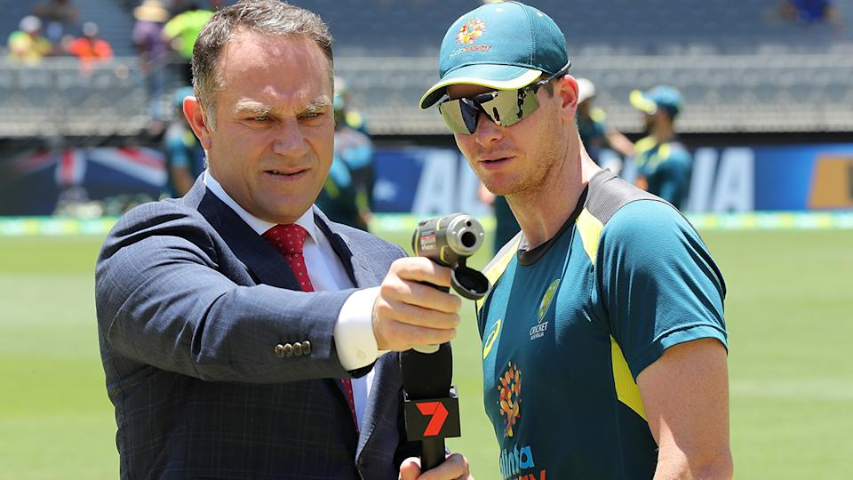 Michael Slater will not commentate cricket on free-to-ai television this summer after Channel 7 opted against renewing his contract. (Photo by Paul Kane - CA/Cricket Australia via Getty Images)