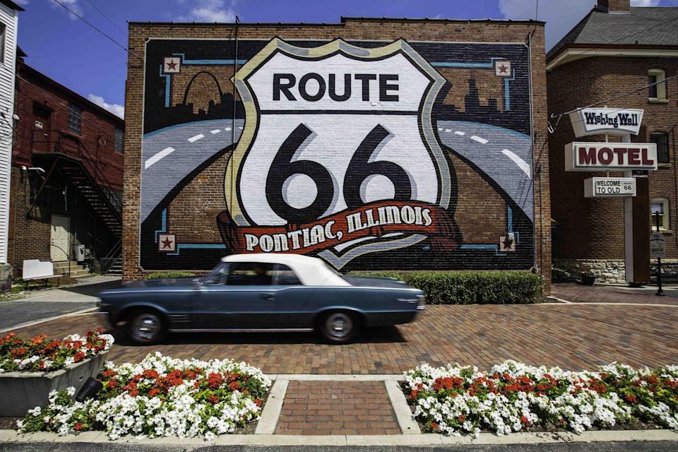 "<p><strong>The Drive: </strong><a href=""https://www.enjoyillinois.com/plan-your-trip/trip-ideas/view/route-66"" rel=""nofollow noopener"" target=""_blank"" data-ylk=""slk:Route 66"" class=""link rapid-noclick-resp"">Route 66</a></p><p><strong>The Scene: </strong>Get your kicks on Route 66! Starting in the heart of downtown Chicago, Route 66 allows you to cruise through Illinois for 301 miles, as you pass through farm towns and historic sites before reaching St. Louis. </p><p><strong>The Pit-Stop: </strong>It isn't a real road trip until you see something strange! Take your picture next to the <a href=""http://www.catsupbottle.com/"" rel=""nofollow noopener"" target=""_blank"" data-ylk=""slk:World's Largest Catsup Bottle"" class=""link rapid-noclick-resp"">World's Largest Catsup Bottle</a> in Collinsville. </p>"