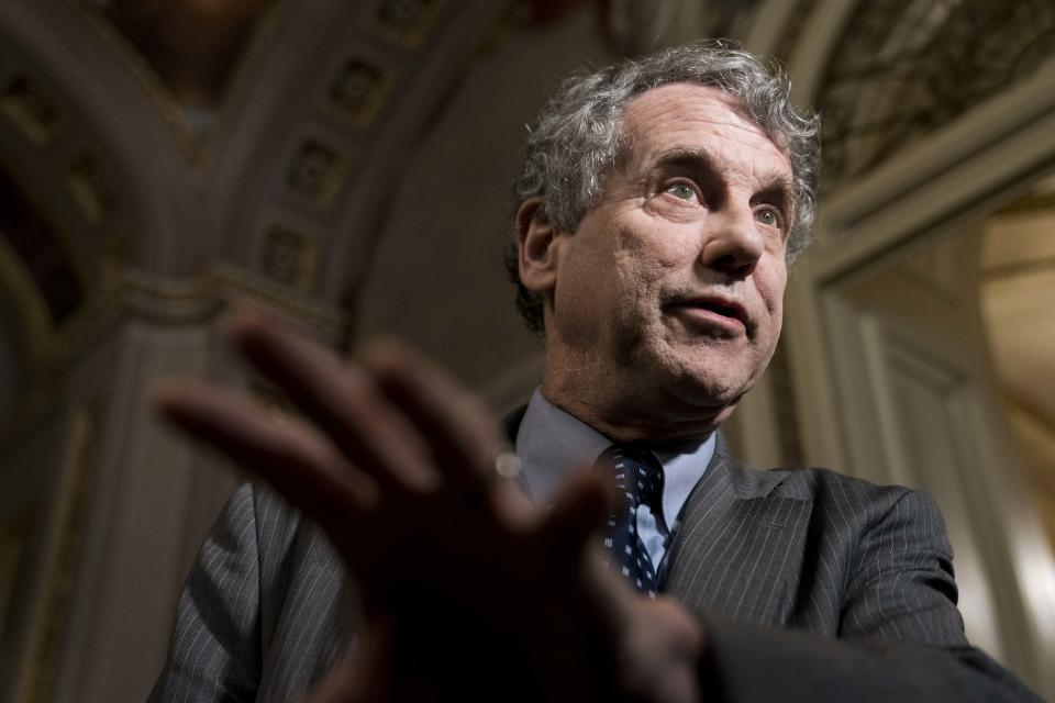 WASHINGTON, DC - JANUARY 30: Senator Sherrod Brown (D-OH) speaks to the press in the U.S. Capitol during a break on the second day that Senators have the opportunity to ask questions during impeachment proceedings against U.S. President Donald Trump on January 30, 2020 in Washington, DC. (Photo by Sarah Silbiger/Getty Images)
