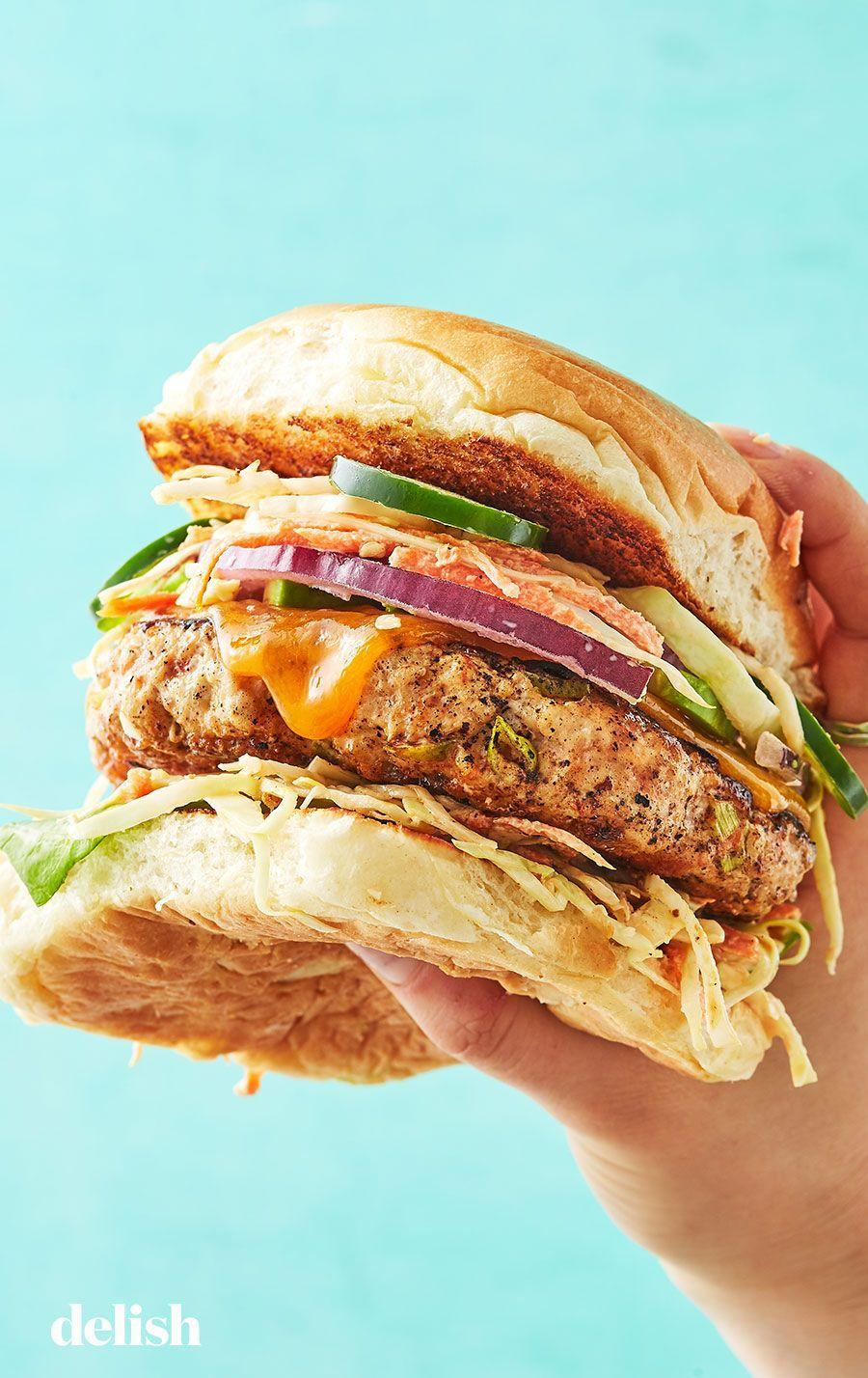 "<p>The perfect I'm-bored-of-grilled-chicken fix.</p><p>Get the recipe from <a href=""https://www.delish.com/cooking/recipe-ideas/recipes/a13513/chicken-burgers-recipe-mslo1010/"" rel=""nofollow noopener"" target=""_blank"" data-ylk=""slk:Delish"" class=""link rapid-noclick-resp"">Delish</a>.<br></p>"