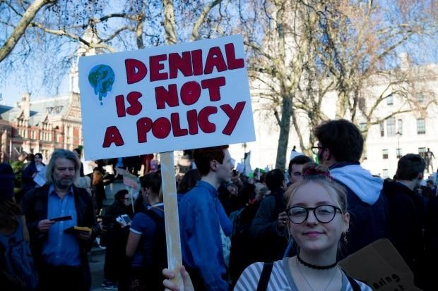 A climate change rally held in London in February 2019. Environmentalists in Cape Breton says there has not been enough discussion on the federal election campaign trail about important environmental issues. (Shutterstock / Ben Gingell - image credit)