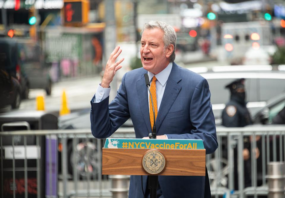 Mayor of New York City Bill de Blasio speaks during the opening of a vaccination center for Broadway workers in Times Square on April 12, 2021 in New York City. (Noam Galai/Getty Images)