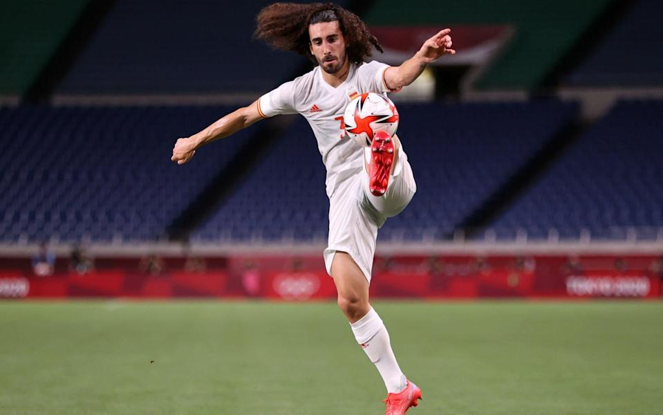 Marc Cucurella #3 of Team Spain controls the ball during the Men's Football Semi-final match between Japan and Spain on day eleven of the Tokyo 2020 Olympic Games at Saitama Stadium on August 03, 2021 in Saitama, Japa - Clive Brunskill/Clive Brunskill