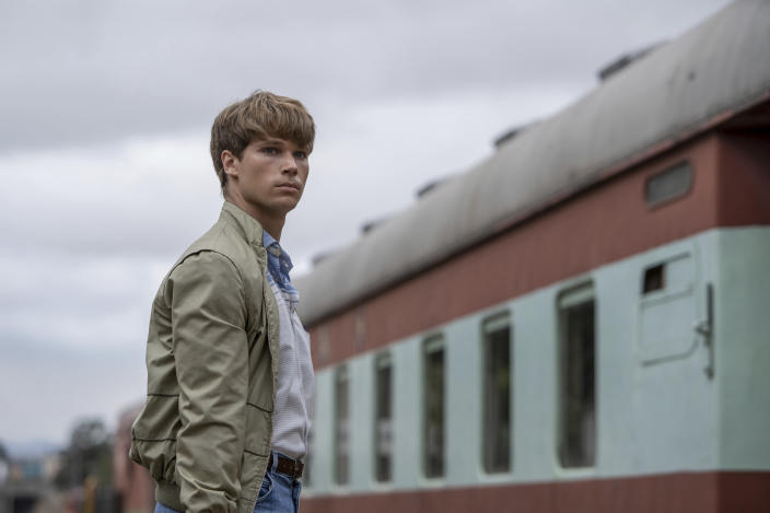 """This image released by IFC Films shows Kai Luke Brummer in a scene from """"Moffie."""" (IFC Films via AP)"""