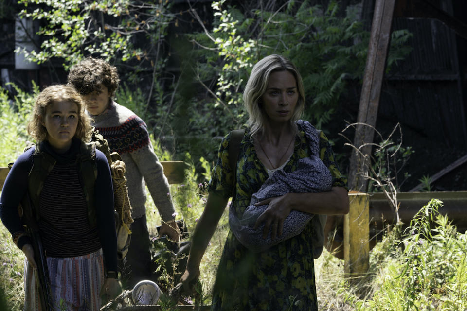 Regan (Millicent Simmonds), Marcus (Noah Jupe) and Evelyn (Emily Blunt) brave the unknown in A Quiet Place Part II. (PHOTO: United International Pictures)