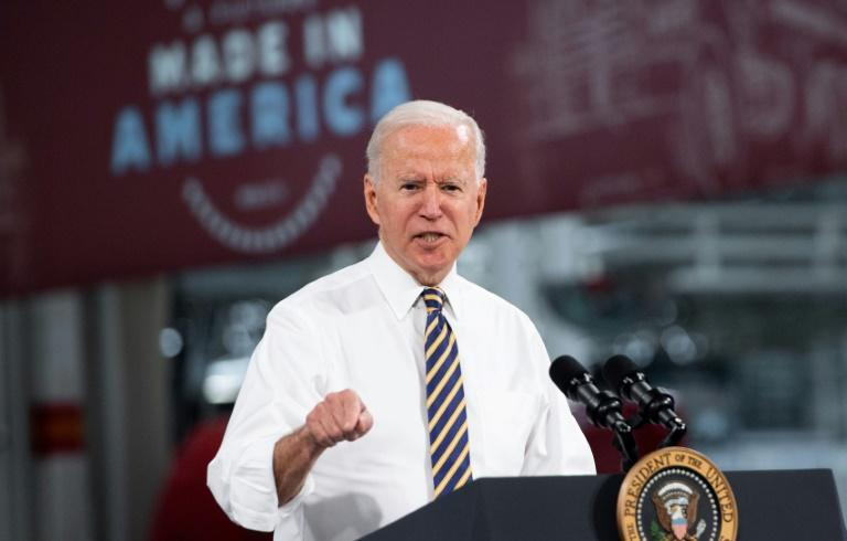 """US President Joe Biden announces plans to strengthen his government's """"Buy American"""" policies during a visit to Pennsylvania"""