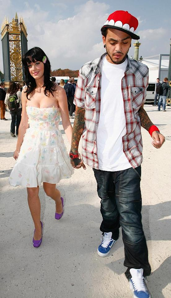 """Brit comedian Russell Brand has been keeping Katy Perry warm since September, but the """"I Kissed a Girl"""" singer's former flame -- Gym Class Hereos frontman Travis McCoy -- had that honor until the twosome dissolved a few months into '09. Julien Hekimian/<a href=""""http://www.wireimage.com"""" target=""""new"""">WireImage.com</a> - September 29, 2008"""