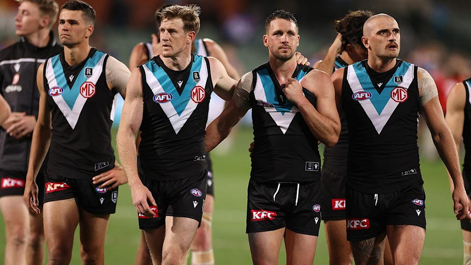 Port Adelaide were dejected after they were thumped by the Western Bulldogs to the tune of 71 points in the preliminary final. (Photo by Daniel Kalisz/Getty Images)
