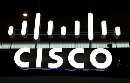FILE PHOTO - The logo of Cisco is seen at Mobile World Congress in Barcelona, Spain, February 27, 2017. REUTERS/Eric Gaillard/File Photo