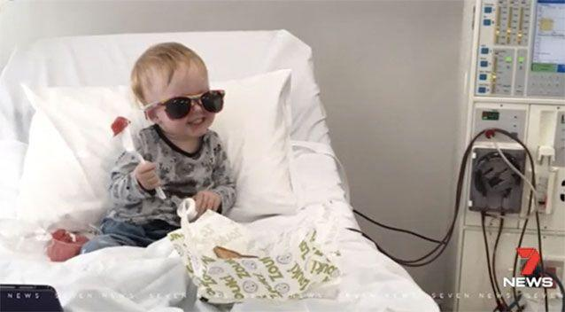 Levi was diagnosed with a rare genetic kidney disease at one month old. Picture: 7 News