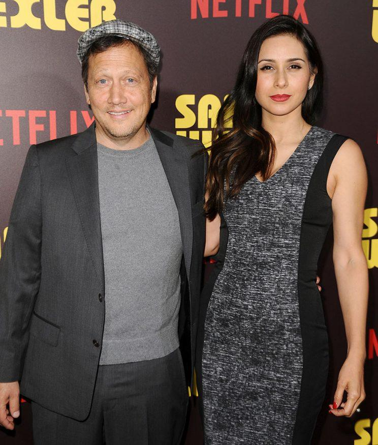 Rob Schneider posed with his wife, Patricia.