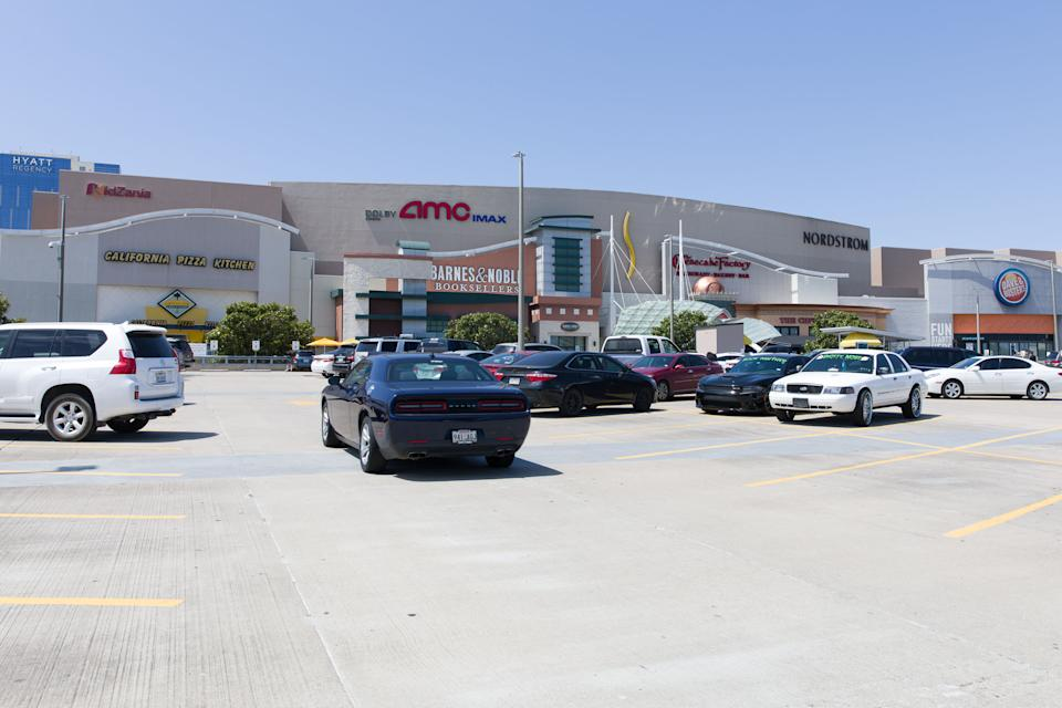 HOUSTON, May 5, 2020 -- Cars are parked in front of a shopping mall in Frisco, on the outskirts of Dallas, Texas, the United States, May 5, 2020. After closed for several weeks due to the outbreak of COVID-19 pandemic, the shopping mall reopened with shortened business hours on Tuesday. (Photo by Dan Tian/Xinhua via Getty) (Xinhua/ via Getty Images)