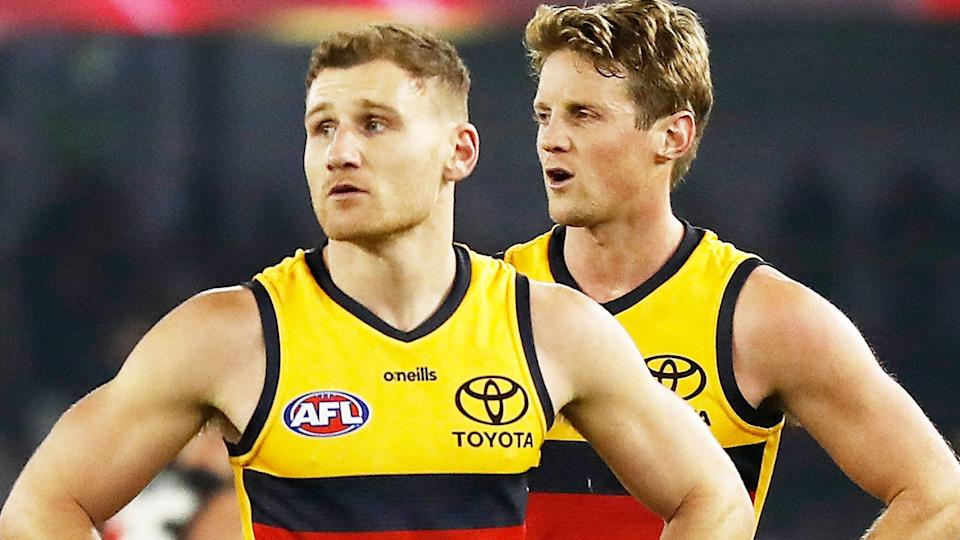 Rory Laird and Rory Sloane, pictured here after Adelaide's loss to Essendon.