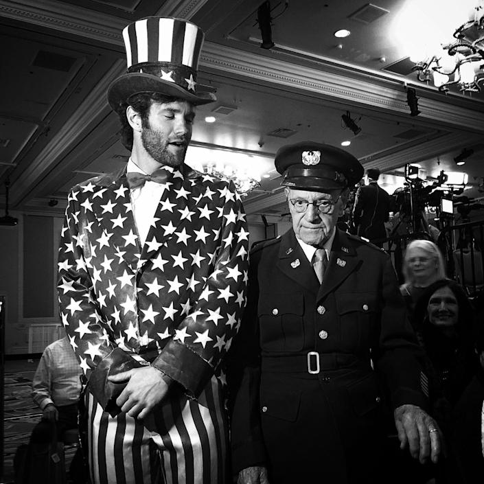 <p>Two Trump supporters at the candidate's caucus night rally, Feb. 23, Las Vegas, Nev. (Photo: Holly Bailey/Yahoo News) </p>