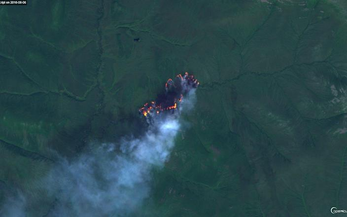 Satellite image of a fire in the Arctic