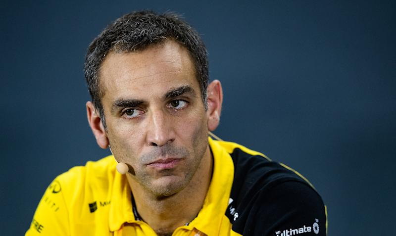 SINGAPORE, SINGAPORE - SEPTEMBER 20: Renault Sport F1 Managing Director Cyril Abiteboul looks on in the Team Principals Press Conference during practice for the F1 Grand Prix of Singapore at Marina Bay Street Circuit on September 20, 2019 in Singapore. (Photo by Lars Baron/Getty Images)