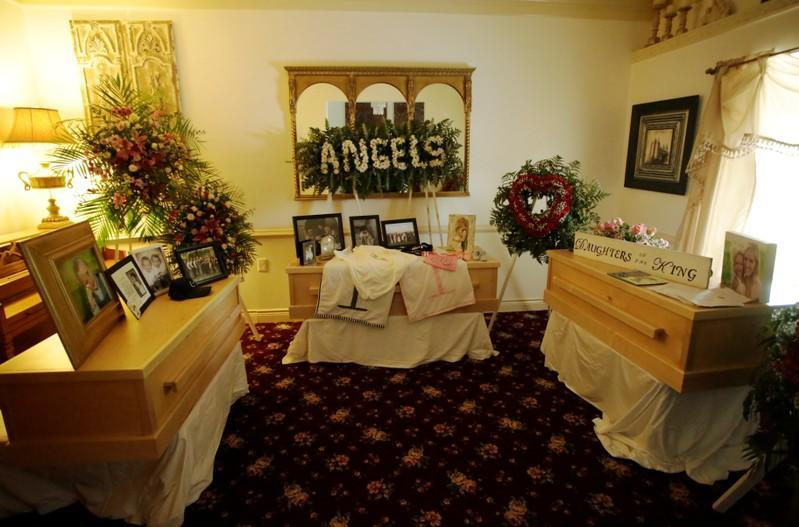 The coffins of Rhonita Maria Miller and her four children, members of the Mexican-American Mormon community killed by unknown assailants, are pictured before their funeral in La Mora