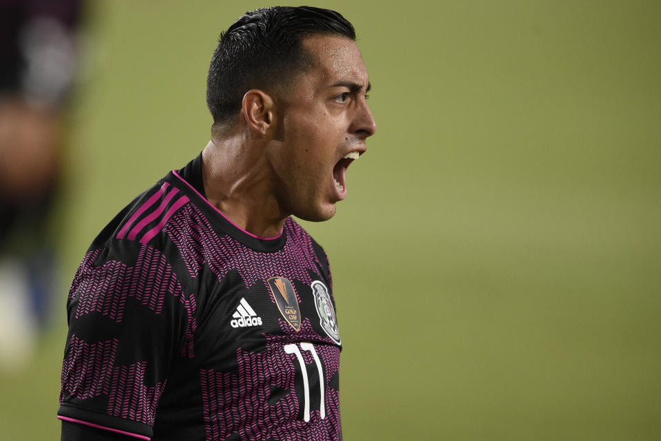 Jul 3, 2021; Los Angeles, CA, USA; Mexico forward Rogelio Funes Mori (11) celebrates after scoring a goal during the first half against Nigeria at the Los Angeles Memorial Coliseum. Mandatory Credit: Kelvin Kuo-USA TODAY Sports