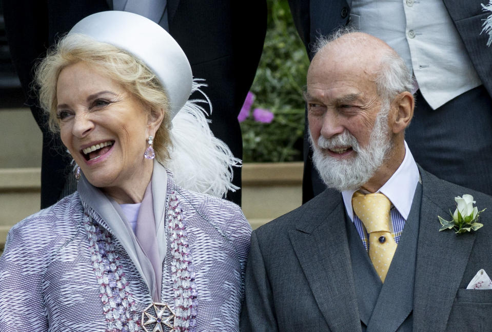 WINDSOR, ENGLAND - MAY 18: Prince Michael of Kent and Princess Michael of Kent during the wedding of Lady Gabriella Windsor and Mr Thomas Kingston at St George's Chapel on May 18, 2019 in Windsor, England. (Photo by UK Press Pool/UK Press via Getty Images)