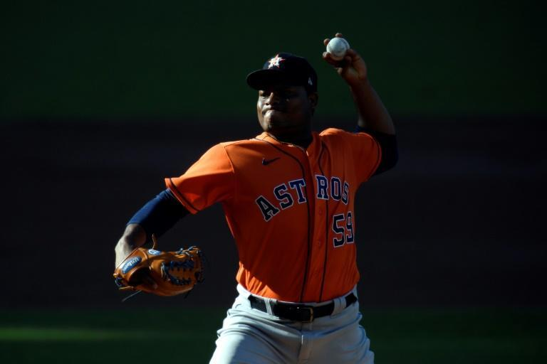 Houston's Framber Valdez pitches against the Tampa Bay in the Astros' series-extending victory over the Rays in game six of baseball's American League Championship Series