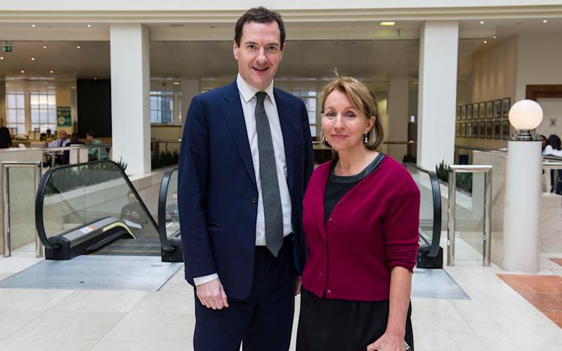 George Osborne with Sarah Sands at the London Evening Standards offices - Credit: Evening Standard / eyevine