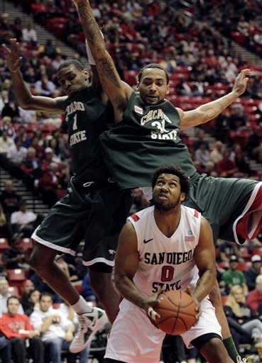 San Diego State forward Alec Williams (0) waits to go up for a shot as Chicago State's Jeremy Robinson (31) and D'Jari Nelson (1) defend during the first half of an NCAA college basketball game Tuesday, Jan. 10, 2012, in San Diego. (AP Photo/Gregory Bull)
