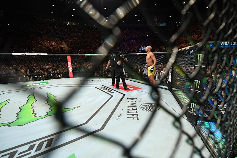 MELBOURNE, AUSTRALIA - FEBRUARY 10: Anderson Silva of Brazil stands in his corner prior to his middleweight bout against Israel Adesanya of New Zealand during the UFC 234 at Rod Laver Arena on February 10, 2019 in the Melbourne, Australia. (Photo by Jeff Bottari/Zuffa LLC/Zuffa LLC via Getty Images)