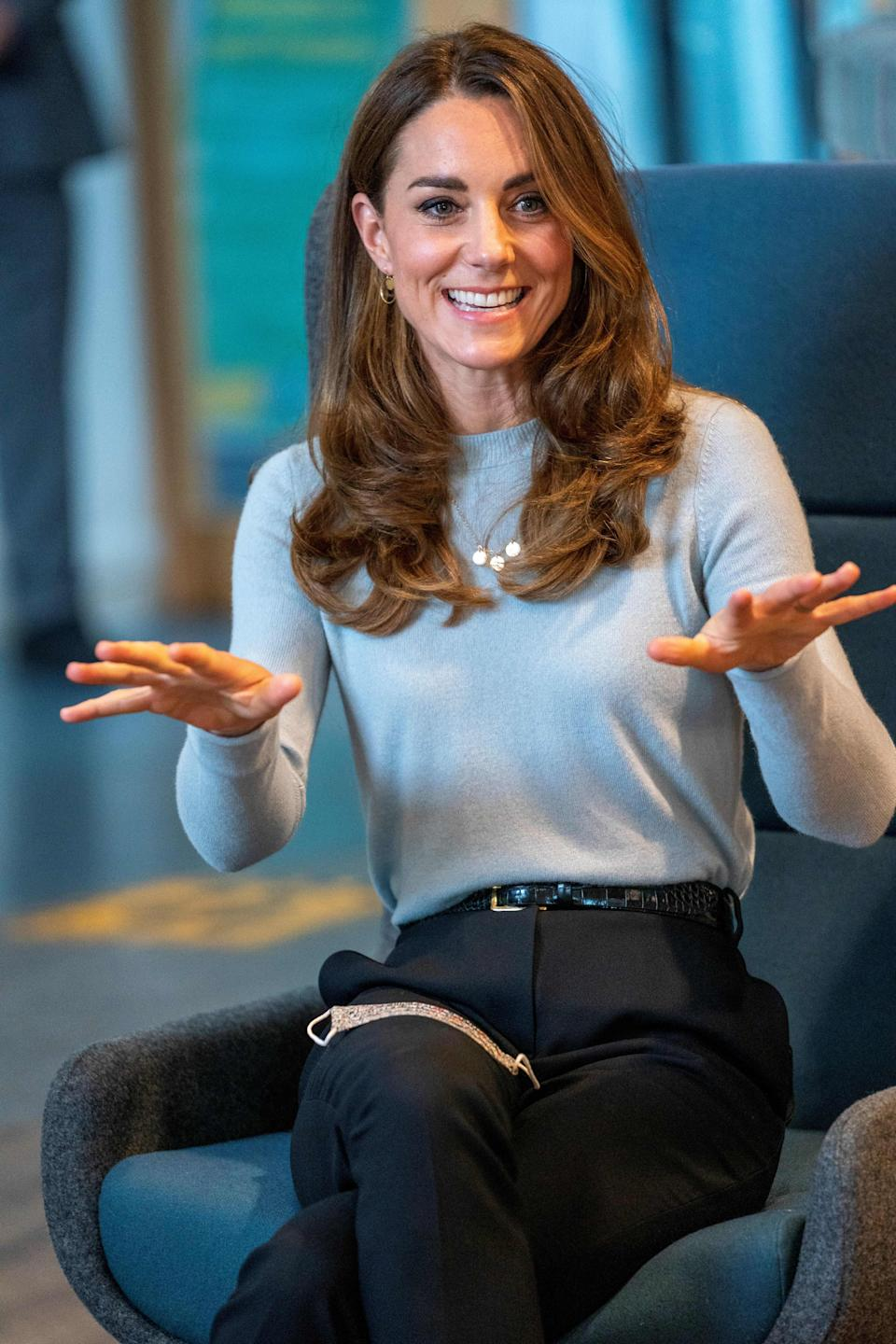 The Duchess appeared to showcase her a new hair do for her latest visit, which saw her discuss the impact of the coronavirus pandemic on students at the University of Derby.  (Getty Images)