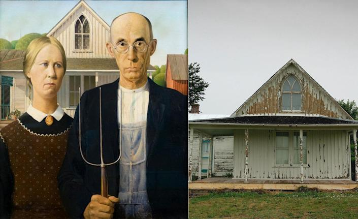 Painted in 1930, Grant Wood's <em>American Gothic</em> exemplifies what the American artist is perhaps best known for: depicting the rural American Midwest. Located in Eldon, Iowa, a town roughly 100 miles southeast of Des Moines, the painting depicts a farmer standing next to his daughter. In the background is the Dibble House, a small white home he saw and knew he wanted to paint. The models for the painting, however, weren't farmhands. Rather, far from it. The woman was actually Wood's younger sister, while the man was the Wood family dentist.