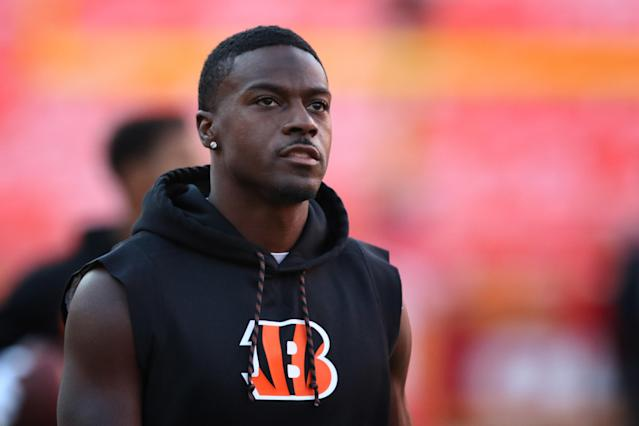 """The Bengals intend to franchise tag <a class=""""link rapid-noclick-resp"""" href=""""/nfl/players/24791/"""" data-ylk=""""slk:A.J. Green"""">A.J. Green</a>. (Scott Winters/Icon Sportswire via Getty Images)"""