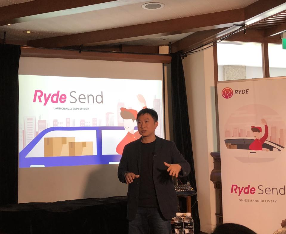 Ryde Technologies founder and CEO Terence Zou addresses reporters on Thursday, 16 August 2018. PHOTO: Nicholas Yong/Yahoo News Singapore