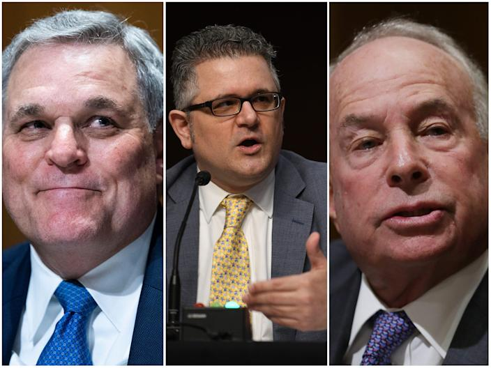 IRS commissioner Charles Rettig; Mark Calabria, director of the Federal Housing Finance Agency; Andrew Saul commissioner of the Social Security Administration