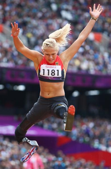 Vanessa Low of Germany competes in the Women's Long Jump - F42/44 Final on day 4 of the London 2012 Paralympic Games at Olympic Stadium on September 2, 2012 in London, England. (Photo by Michael Steele/Getty Images)