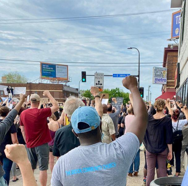 PHOTO: Pastor W. Seth Martin demonstrates with members of his church on June 1, 2020, in Minneapolis, Minn., near the intersection where George Floyd died. (The Brook Community Church)
