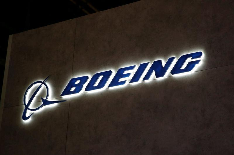 FILE PHOTO: A Boeing logo is pictured during EBACE in Geneva