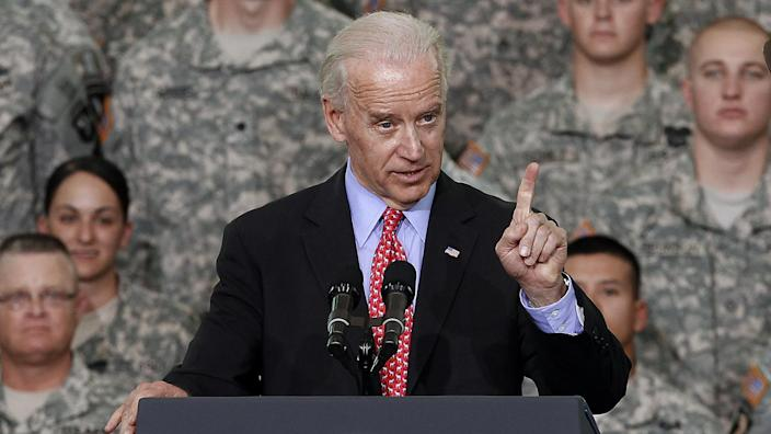 Vice President Joe Biden speaks to troops at Fort Campbell, Ky., Friday, May 6, 2011. President Barack Obama and Biden came to Fort Campbell to address soldiers who have recently returned from Afghanistan. (Mark Humphrey/AP)