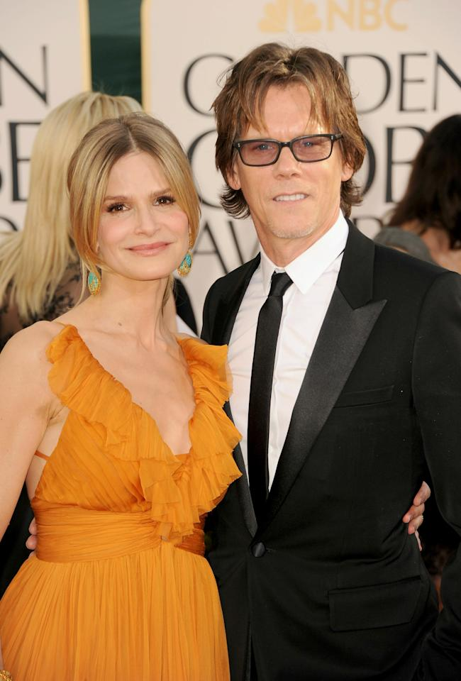 BEVERLY HILLS, CA - JANUARY 16:  Actress Kyra Sedgwick (L) and actor Kevin Bacon arrive at the 68th Annual Golden Globe Awards held at The Beverly Hilton hotel on January 16, 2011 in Beverly Hills, California.  (Photo by Frazer Harrison/Getty Images)
