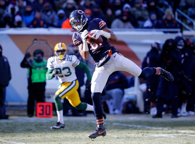 FILE - In this Dec. 18, 2016, file photo, Chicago Bears wide receiver Cameron Meredith (81) makes a catch during the first half of an NFL football game against the Green Bay Packers in Chicago. Saints coach Sean Payton says restricted free agent receiver Cameron Meredith is joining the team. Meredith's agent, Cliff Brady, says the Bears declined to match a two-year offer worth about $10 million that Meredith signed with New Orleans. (AP Photo/Charles Rex Arbogast, File)