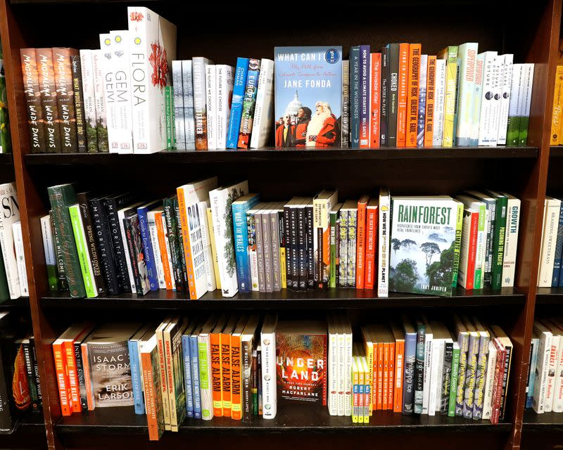 Climate change themed books are displayed together on shelves at a Barnes & Noble book store in Brooklyn, New York