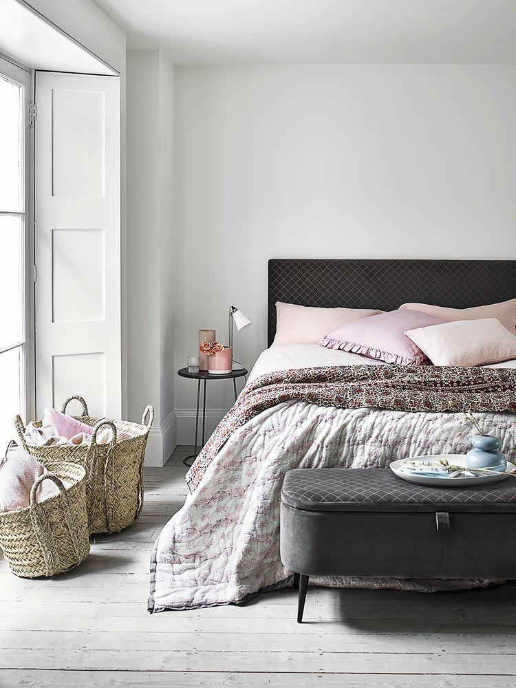 """<p><a href=""""https://www.dreams.co.uk/ren-velvet-finish-upholstered-bed-frame/p/251-00332"""" rel=""""nofollow noopener"""" target=""""_blank"""" data-ylk=""""slk:Ren"""" class=""""link rapid-noclick-resp"""">Ren</a>, from the House Beautiful Collection at Dreams, with its tactile velvet finish and refined gold diamond detailing, accented with slim dark-wood legs, combines cosy and classic beautifully for a country cottage-style bedroom that exudes relaxed comfort. To complete the look, Ren comes with a matching <a href=""""https://www.dreams.co.uk/ren-blanket-box/p/850-00025"""" rel=""""nofollow noopener"""" target=""""_blank"""" data-ylk=""""slk:blanket box"""" class=""""link rapid-noclick-resp"""">blanket box</a> and a <a href=""""https://www.dreams.co.uk/ren-1-drawer-bedside-chest/p/810-00144"""" rel=""""nofollow noopener"""" target=""""_blank"""" data-ylk=""""slk:bedside table"""" class=""""link rapid-noclick-resp"""">bedside table</a> with a handy drawer.</p><p><a class=""""link rapid-noclick-resp"""" href=""""https://www.dreams.co.uk/ren-velvet-finish-upholstered-bed-frame/p/251-00332"""" rel=""""nofollow noopener"""" target=""""_blank"""" data-ylk=""""slk:SHOP NOW"""">SHOP NOW</a></p><p>The House Beautiful Ren is available as a double or king base. Check out the full range at <a href=""""https://www.dreams.co.uk/house-beautiful"""" rel=""""nofollow noopener"""" target=""""_blank"""" data-ylk=""""slk:dreams.co.uk/housebeautiful"""" class=""""link rapid-noclick-resp"""">dreams.co.uk/housebeautiful</a>.</p><p><strong>Style Tips for creating the Country Casual look:</strong> </p><p>• A padded headboard with extra cushioning provides the perfect backrest for comfy in-bed reading or TV watching.</p><p>• Create a sense of sleepy time serenity with pretty pastel accessories.</p><p>• A seagrass basket keeps cushions and throws tidy.</p>"""