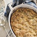 "<p>This breakfast strata recipe, loaded with onions, leeks and asparagus, is a great way to serve eggs to a crowd for brunch. This healthy breakfast casserole is lightened up by using less bread, low-fat milk and more vegetables. The egg mixture and vegetables can be made ahead, but plan to put the strata in the oven to bake about 1 hour before you want to serve it. <a href=""http://www.eatingwell.com/recipe/250707/prosciutto-asparagus-strata/"" rel=""nofollow noopener"" target=""_blank"" data-ylk=""slk:View recipe"" class=""link rapid-noclick-resp""> View recipe </a></p>"