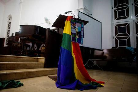 A rainbow flag decorates a chapel before a mass in Matanzas, Cuba, May 5, 2017. Picture taken on May 5, 2017. REUTERS/Alexandre Meneghini