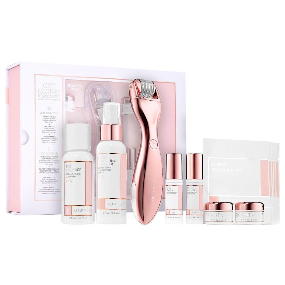 """<p>Try the skin-tightening <a href=""""https://www.popsugar.com/buy/BeautyBio-GloPRO-Microneedling-Starter-Set-8-Piece-AMPM-Routine-576157?p_name=BeautyBio%20GloPRO%C2%AE%20Microneedling%20Starter%20Set%208-Piece%20AM%2BPM%20Routine&retailer=sephora.com&pid=576157&price=129&evar1=bella%3Aus&evar9=47494507&evar98=https%3A%2F%2Fwww.popsugar.com%2Fbeauty%2Fphoto-gallery%2F47494507%2Fimage%2F47494533%2FBeautyBio-GloPRO-Microneedling-Starter-Set-8-Piece-AMPM-Routine&list1=sephora%2Cbeauty%20shopping%2Cbeauty%20sale&prop13=mobile&pdata=1"""" class=""""link rapid-noclick-resp"""" rel=""""nofollow noopener"""" target=""""_blank"""" data-ylk=""""slk:BeautyBio GloPRO® Microneedling Starter Set 8-Piece AM+PM Routine"""">BeautyBio GloPRO® Microneedling Starter Set 8-Piece AM+PM Routine</a> ($129, originally $199) including the microneedling tool and all the serums, cleansers, and creams needed to get started.</p>"""