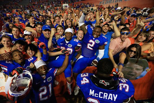 GAINESVILLE, FL - OCTOBER 20: The Florida Gators celebrate their victory over the South Carolina Gamecocks at Ben Hill Griffin Stadium on October 20, 2012 in Gainesville, Florida. Florida defeated South Carolina 44-11. (Photo by Chris Trotman/Getty Images)