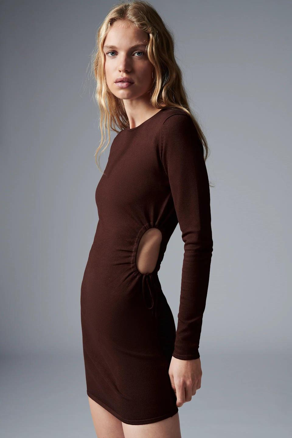 <p>This <span>Zara Cut Out Knit Dress</span> ($40) has the cutest side cutouts. We're also obsessed with the chocolate brown color.</p>